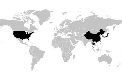 ABD ve Çinîn dünya hartası üzerindeki konumu