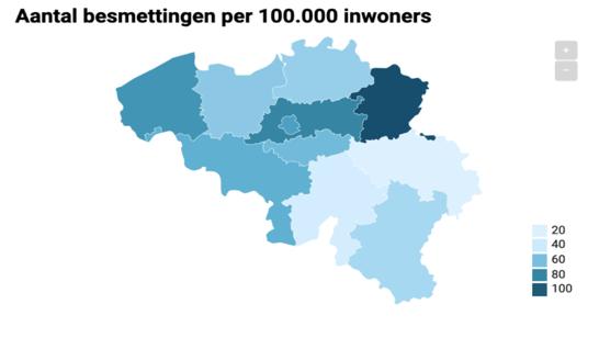 Harita 1. Belçika'da Yüz Bin Kişi Başına Düşen Koronavirüs Vaka Oranı
