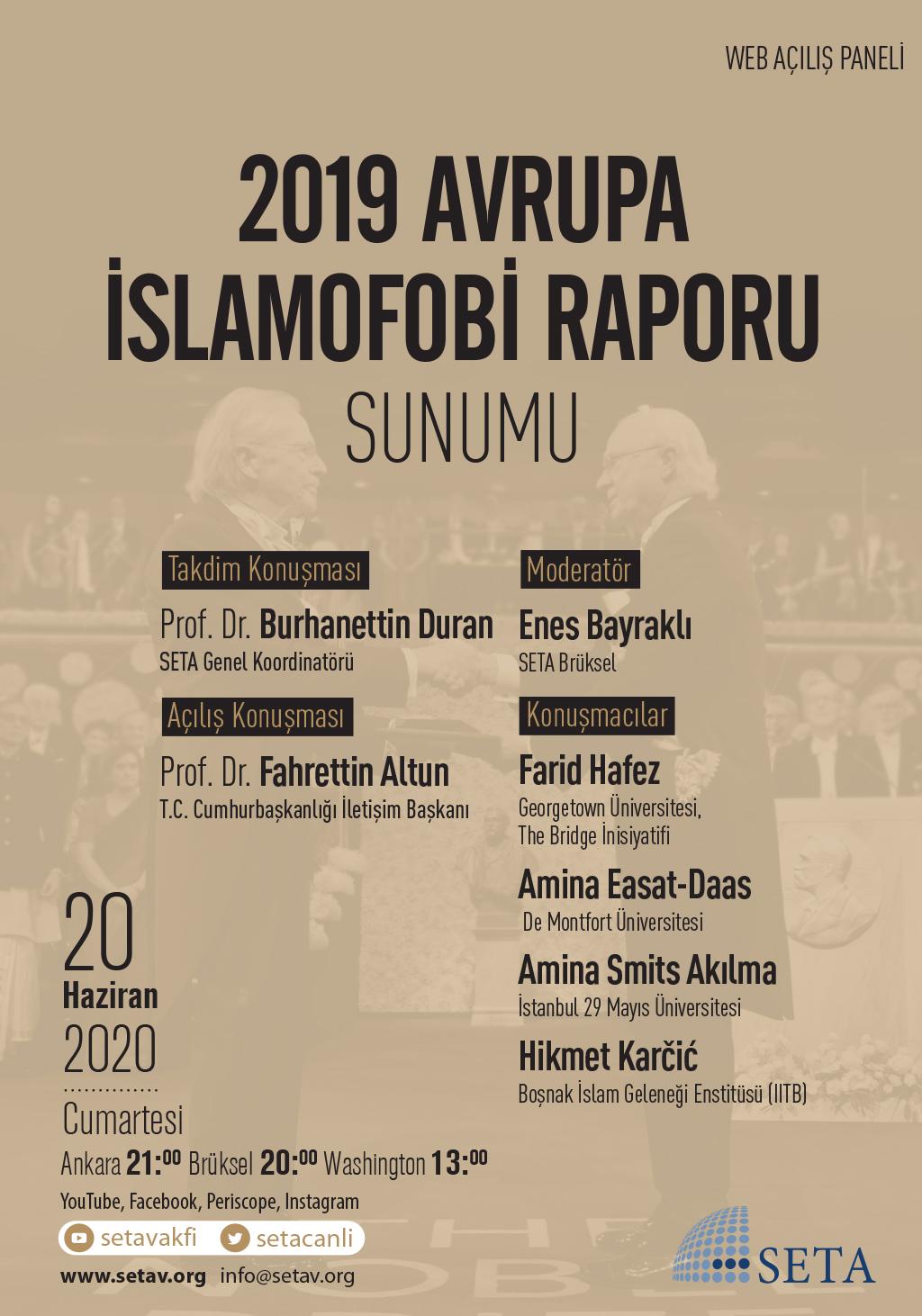 Web Açılış Paneli: 2019 Avrupa İslamofobi Raporu Sunumu