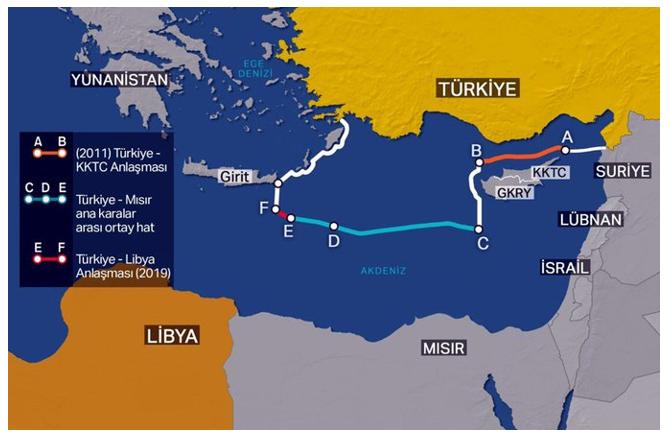 Harita 3. Türkiye'nin BM'ye Bildirdiği Doğu Akdeniz'deki Deniz Yetki Alanları