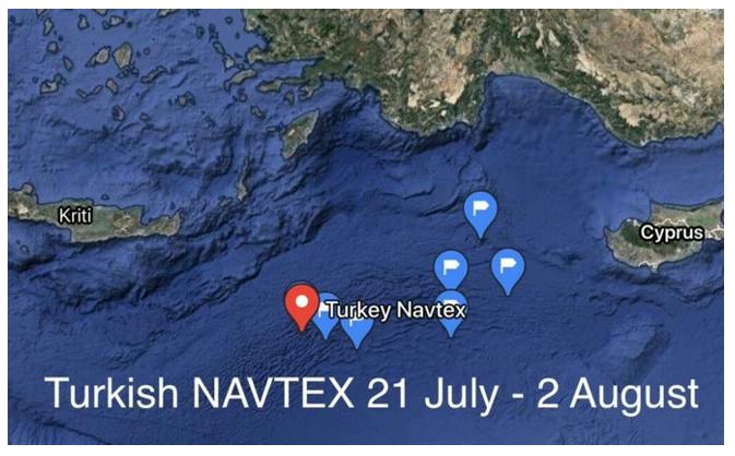 Harita 1. Türkiye'nin Navtex İlan Ettiği Bölge