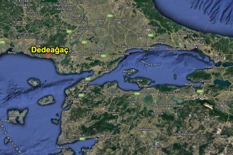 Dedeağaç, konumu. Kaynak: Google Haritalar