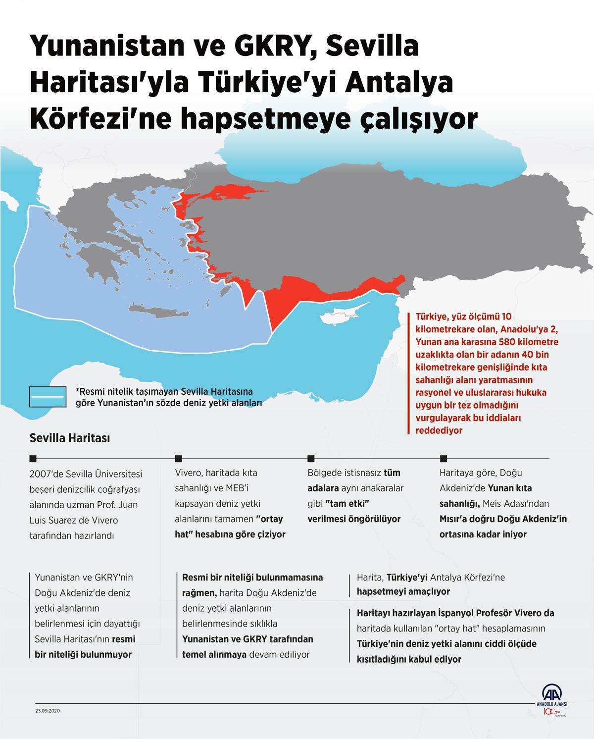Yunanistan ve Türkiye ilişkileri ışığında gündeme gelen Sevilla Haritası'nın resmi bir niteliği bulunmamasına rağmen, harita Doğu Akdeniz'de deniz yetki alanlarının belirlenmesinde sıklıkla Yunanistan ve Güney Kıbrıs Rum Yönetimi (GKRY) tarafından temel alınmaya devam ediliyor.