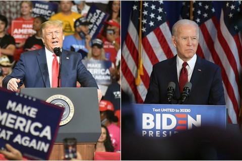 ABD'de 3 Kasım'da yapılacak başkanlık seçimleri yarışında anketlerde, Demokrat aday Joe Biden (sağda) önde görünürken, mevcut Başkan ve Cumhuriyetçi aday Donald Trump'ın özellikle kritik eyaletlerde arayı kapattığı yahut baş başa olduğu görülüyor.