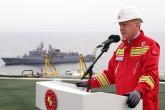 17 Ekim 2020, Zonguldak açıkları | Türkiye Cumhurbaşkanı Recep Tayyip Erdoğan, Fatih Sondaj Gemisi'nde incelemelerde bulunarak bir konuşma yaptı. (Foto: Mustafa Kamacı / AA)