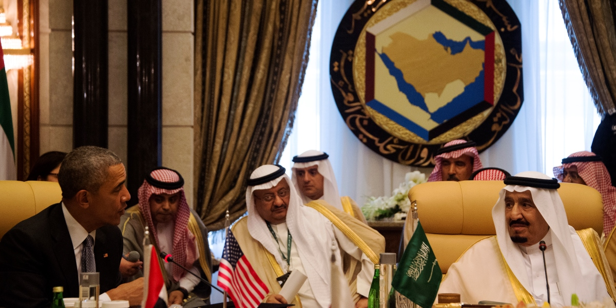 """A picture taken on April 21, 2016 shows US President Barack Obama (L) meeting with Saudi King Salman (R) during the US-Gulf Cooperation Council Summit in Riyadh, on April 21, 2016. Despite concerns about Iran's behaviour, neither the US nor Gulf states wish for conflict with the Shiite nation, Obama said. """"None of our nations have an interest in conflict with Iran,"""" he said at the close of a meeting in the Saudi capital with the six-nation Gulf Cooperation Council.     / AFP PHOTO / Jim Watson"""