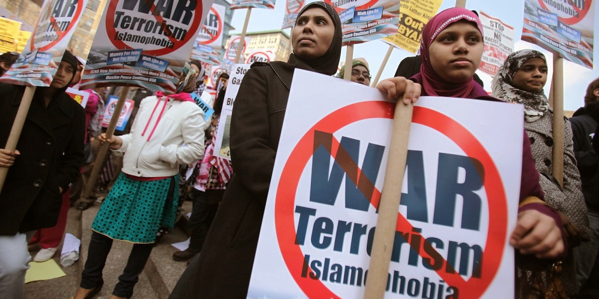 NEW YORK, NY - APRIL 09:  Muslim protesters gather at a large anti-war rally in Union Square on April 9, 2011 in New York City. Thousands of protesters called for the U.S. to end the wars in Iraq and Afghanistan and a large Muslim contingent protested against war and Islamophobia. (Photo by Mario Tama/Getty Images)  *** BESTPIX ***