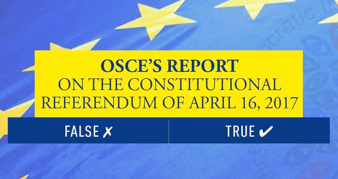 OSCE's Report on the Constitutional Referendum of April 16, 2017