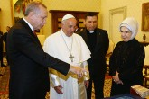 Pope Francis with Recep Tayyip Erdoğan and the First Lady Emine Erdoğan