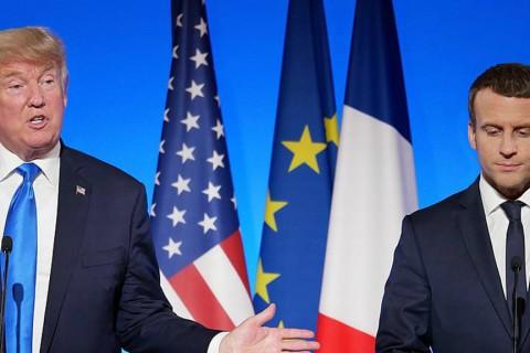 U.S. President Donald Trump and French President Emmanuel Macron