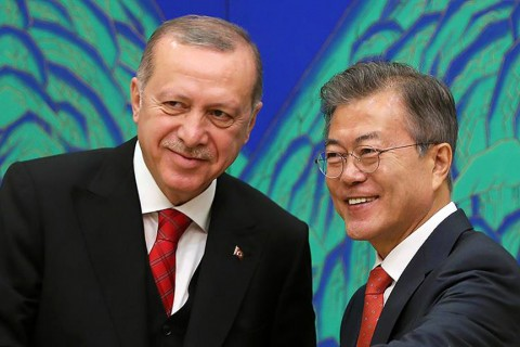 President Erdoğan (L) and South Korean president, Moon Jae-in (R)