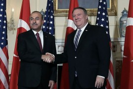 Turkish Foreign Minister Mevlut Cavusoglu and his U.S. counterpart Mike Pompeo