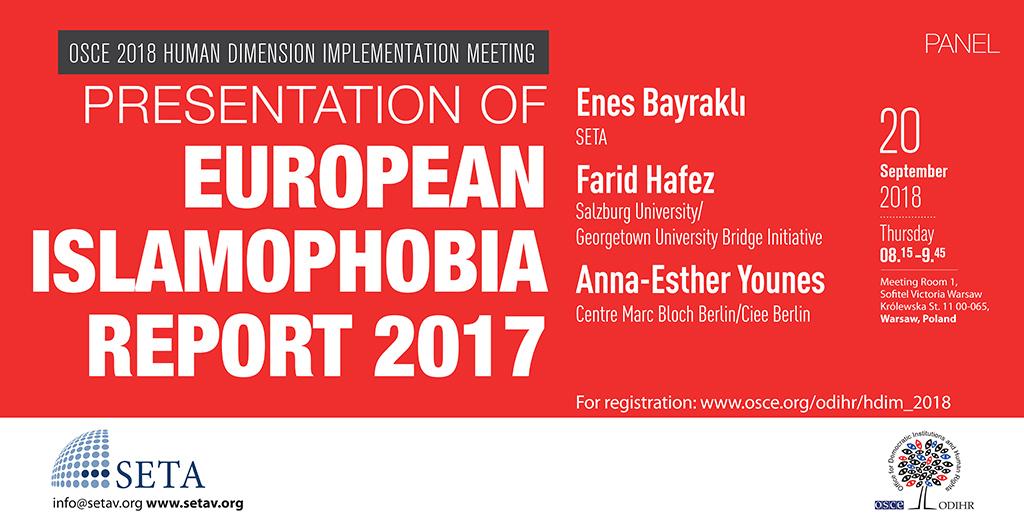 OSCE Human Dimension Implementation Meeting 2018  | Presentation of European Islamophobia Report 2017