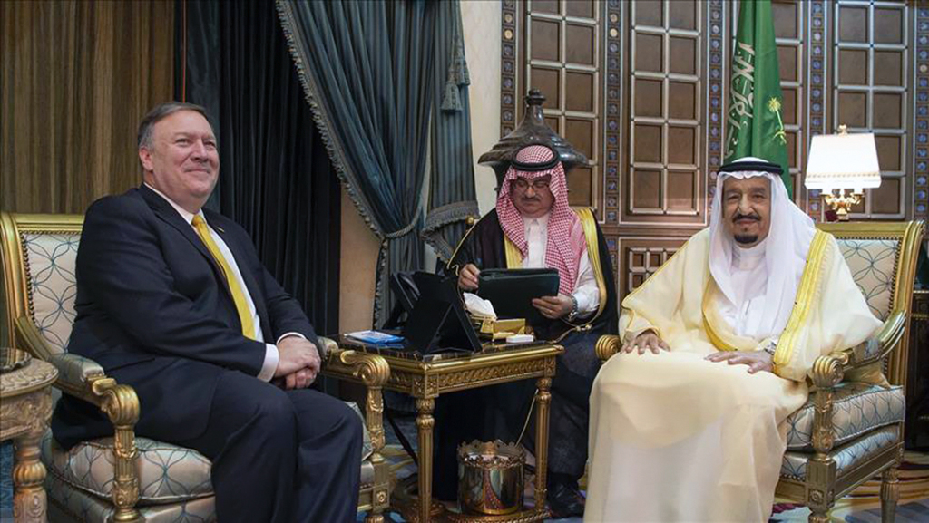 Saudi Arabia's King Salman met with US Secretary of State Pompeo, who visited his country to discuss the disappearance of the Saudi journalist Jamal Khashoggi.