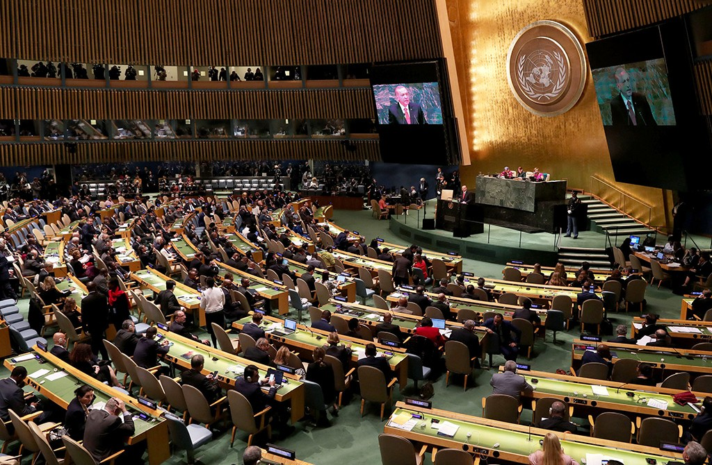 "Erdoğan addresses the 73rd Session of the UNGA, New York, Sept. 25. Erdoğan re-emphasized his famous motto against the U.N. system, ""the world is bigger than five,"" criticizing the hegemony of the five permanent UNSC members over the organization."