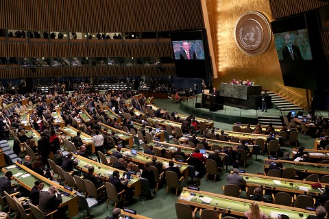 """Erdoğan addresses the 73rd Session of the UNGA, New York, Sept. 25. Erdoğan re-emphasized his famous motto against the U.N. system, """"the world is bigger than five,"""" criticizing the hegemony of the five permanent UNSC members over the organization."""