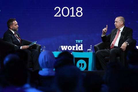 Turkish President Recep Tayyip Erdogan speaks during the closing session of the TRT World Forum in Istanbul, Turkey, on October 5, 2018. Anadolu Agency