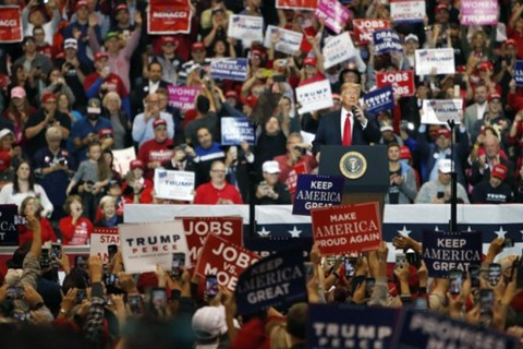 U.S. President Donald Trump speaks to supporters during a rally at the I-X Center in Cleveland, Ohio, Nov. 5