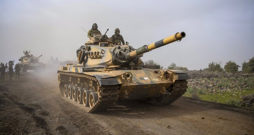 Turkish tanks head for Afrin to clear the area of YPG terrorist elements during Operation Olive Branch, Jan.22.
