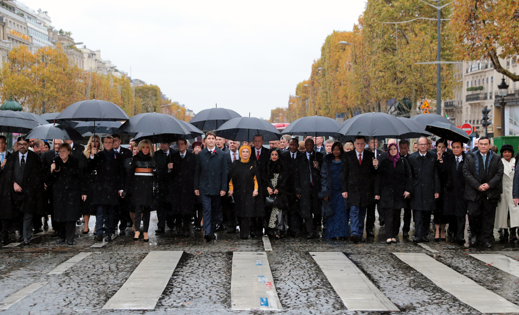 Around 47 heads of states, 23 governments' heads and 15 international institutions' chairs walked towards Arc de Triomphe and the Tomb of the Unknown Soldier, located at the base of the arc on the famous Champs-Elysees Avenue.