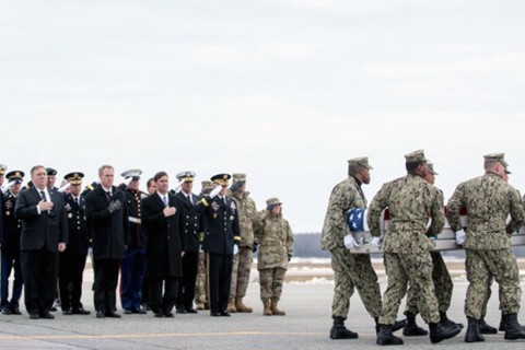 The U.S. president and high-level officials salute as a U.S. Navy team transfers the body of Scott A. Wirtz, who was killed in a suicide attack claimed by Daesh in Manbij, Syria on Jan. 16.
