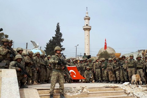 Turkish soldiers take commando oath after Turkish Armed Forces and Free Syrian Army members on March 18, 2018 took complete control of northwestern Syria's Afrin