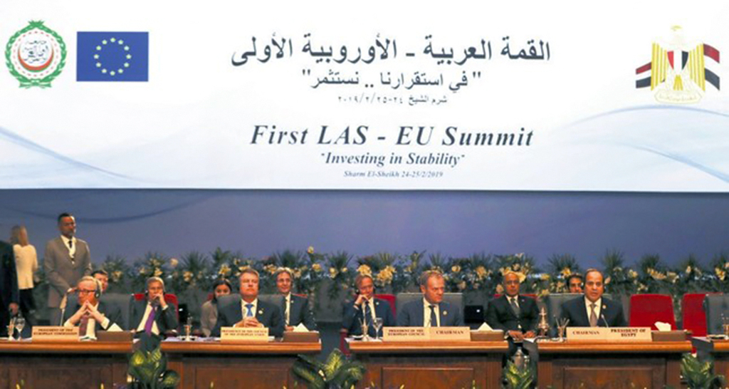 From left to right, Juncker, Romania's Iohannis, Tusk and Abdel Fattah el-Sisi, President of Egypt, attend a summit between the Arab League and European Union member states in the Red Sea resort of Sharm el-Sheikh, Egypt, Feb. 25, 2019.