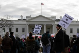 A group of Venezuelans stage a protest in support of Venezuela's President Nicolas Maduro in front of White House in Washington, United States on January 24, 2019.