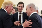 White House senior adviser Jared Kushner (C) listens as U.S. President Donald Trump (L) talks with Israeli Prime Minister Benjamin Netanyahu at the King David Hotel in Jerusalem May 22, 2017.