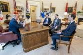 Turkish Minister of Treasury and Finance Berat Albayrak (2nd R) attends a meeting with U.S. President Donald Trump (L), US Secretary of the Treasury Steven Mnuchin (3rd R) and US president Donald Trump's senior adviser Jared Kushner (R) in Washington, United States on April 15, 2019. [Anadolu Agency]