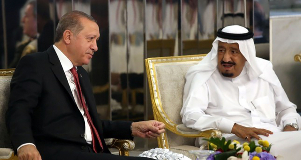 President Recep Tayyip Erdoğan meeting with Saudi Arabia's King Salman during an official visit in Jeddah, July 23, 2017.