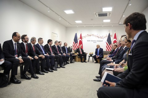 Turkish President Recep Tayyip Erdogan (C - L) holds a meeting with U.S President Donald Trump (C - R) on the second day of the G20 Summit at INTEX Osaka Exhibition Center in Osaka, Japan on June 29, 2019.