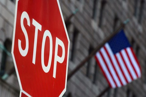 Stop Sign and USA Flag
