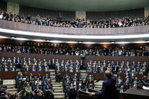 President and AK Party Chairman Recep Tayyip Erdoğan attended and delivered a speech at the Justice and Development Party's (AK Party) Group Meeting at the Grand National Assembly of Turkey.