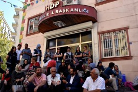 Families whose children were abducted by PKK terrorists hold a sit-in protest in front of the pro-PKK Peoples' Democratic Party (HDP) headquarters in Diyarbakır, Sept. 6, 2019.