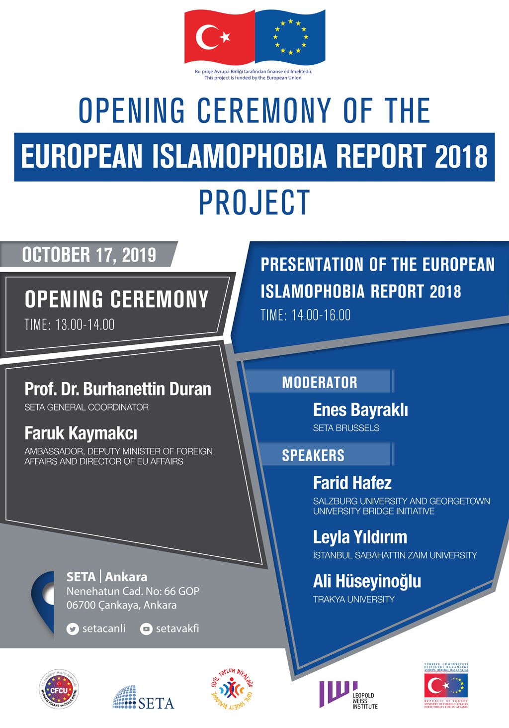 "Opening Ceremony of the ""European Islamophobia Report 2018"" Project #EIR2018"