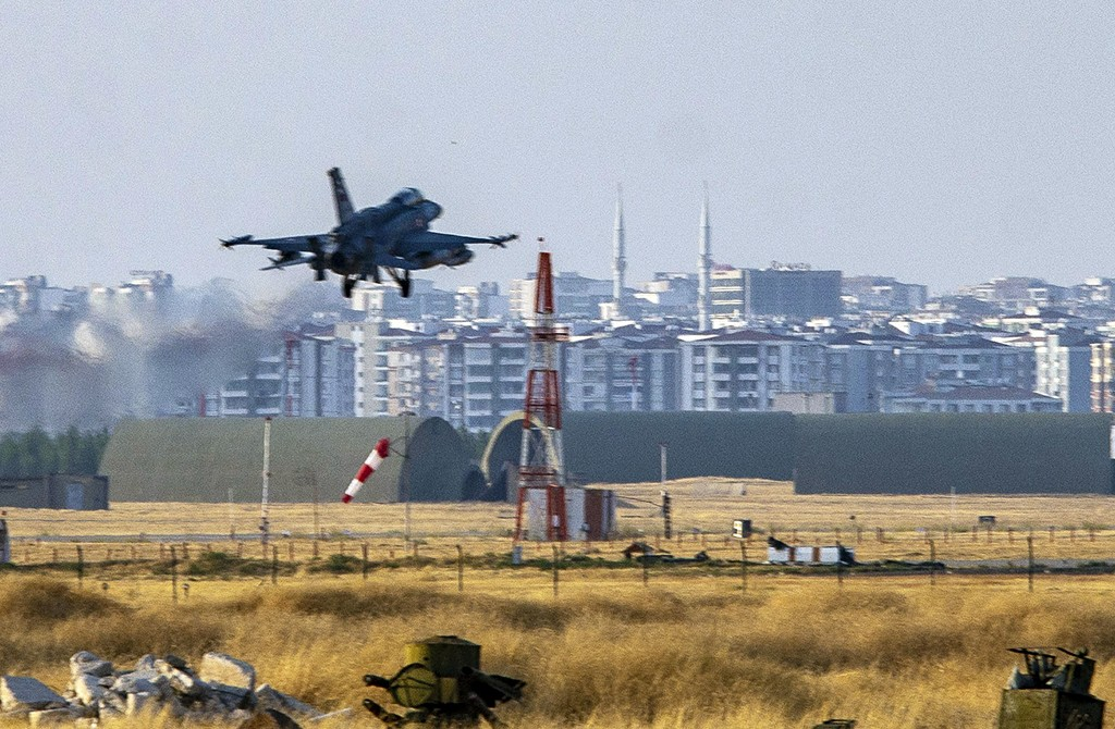 DIYARBAKIR, TURKEY - OCTOBER 09: Turkish Army's fighter jet takes off from 8th Main Jet Base in Diyarbakir, Turkey on October 09, 2019 as Turkish troops along with the Syrian National Army begin Operation Peace Spring in northern Syria against PKK/YPG, Daesh terrorists.