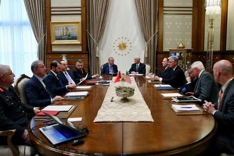 Turkish President Recep Tayyip Erdogan (C-L) and U.S. Vice President Mike Pence (C-R) are seen during inter-delegations meeting at the Presidential Complex in the capital Ankara, Turkey on October 17, 2019.