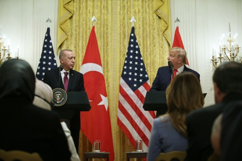 President of Turkey, Recep Tayyip Erdogan and U.S. President Donald Trump hold a joint press conference following their meeting at the White House in Washington, United States on November 13, 2019.