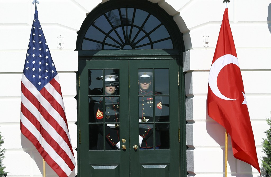 Honor guards arrive to take position in preparation of a welcoming ceremony for President of Turkey, Recep Tayyip Erdogan (not seen) by U.S. President Donald Trump (not sesen) prior to their meeting at the White House in Washington, United States on November 13, 2019.