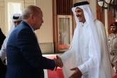 Turkish President Recep Tayyip Erdogan (L) is welcomed by Emir of Qatar Tamim bin Hamad Al Thani (R) in Doha, Qatar on November 25, 2019.