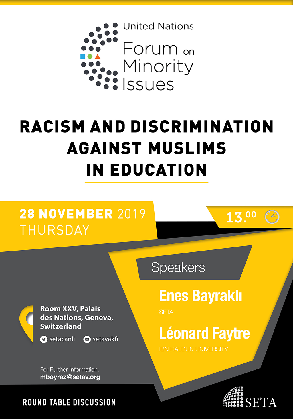 "Round Table Discussion: ""Racism and Discrimination Against Muslims in Education"""