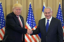 U.S. President Donald Trump (L), Israeli Prime Minister (R) Benjamin Netanyahu at the White House