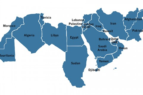 Map of the Middle East and North Africa (MENA) region