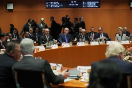 President of Turkey Recep Tayyip Erdogan and Foreign Minister of Turkey Mevlut Cavusoglu attend the Berlin Conference on Libyan peace in Berlin, Germany on January 19, 2020.