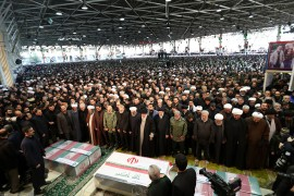 "6 January, 2020 | Thousands of Iranians attended a funeral procession for top military general Qasem Soleimani and Iraqi militia leader Abu-Mahdi al-Muhandis in the capital Tehran on Monday. Soleimani, the head of Iran's Revolutionary Guards' elite Quds force, and al-Muhandis, the deputy leader of the Iraqi Hashd al-Shaabi force, were killed in a U.S. drone airstrike outside Baghdad airport on Friday. Iran's Supreme Leader Ali Khamenei led the prayer for the two men at the University of Tehran, according to the official IRNA news agency. Thousands of mourners chanted ""Death to America"" and ""Death to Israel"" as they carried banners demanding revenge for Soleimani.  The corpses of Soleimani and al-Muhandis arrived in Tehran Monday dawn along with the bodies of four other people killed in the U.S. airstrike. On Saturday, thousands of mourners gathered in several Iraqi cities for a funeral procession for the two men.  Soleimani's killing marked a dramatic escalation in tensions between the U.S. and Iran, which have often been at a fever pitch since President Donald Trump chose in 2018 to unilaterally withdraw Washington from a nuclear pact world powers struck with Tehran.  Iran's top security body has vowed ""harsh retaliation"" at the ""right time and right place"" to the general's killing.  The Pentagon accused Soleimani of plotting an attack on the U.S. Embassy compound in Baghdad, and planning to carry out additional attacks on U.S. diplomats and service members in Iraq and the region. (AA)"