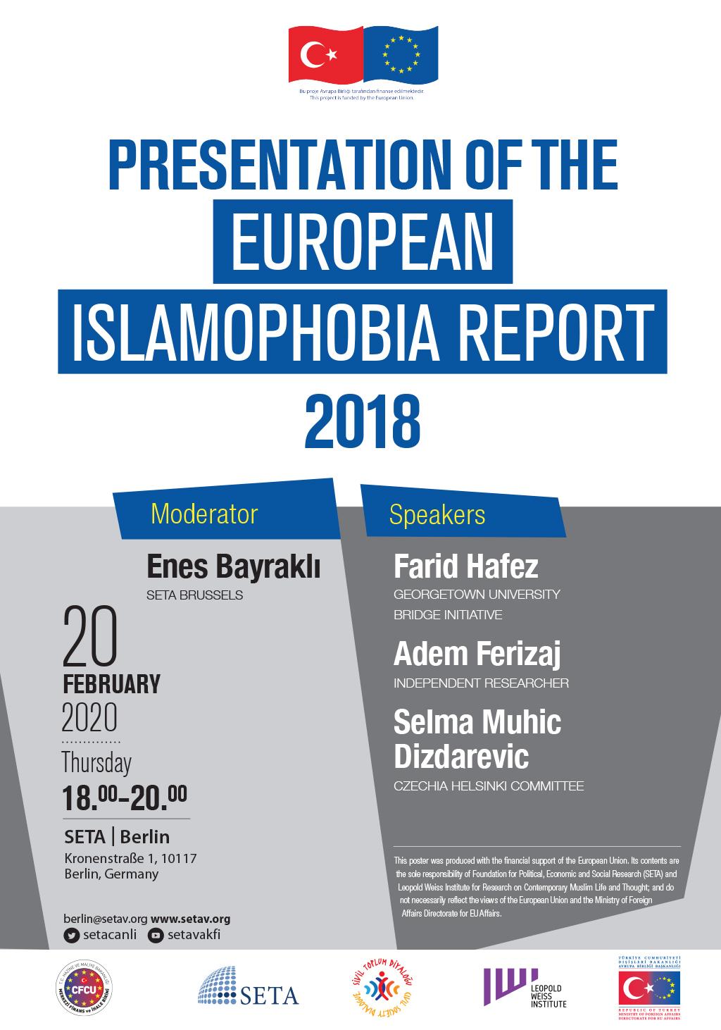 Panel: Presentation of the European Islamophobia Report 2018