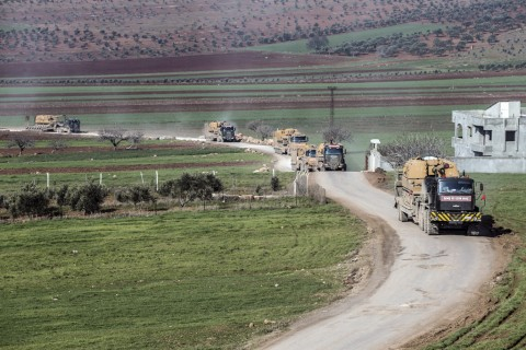 Turkish Armed Forces' reinforcements, including howitzers, tanks, ammunition, armored construction machines and other military vehicles, are being deployed to Syria border on February 17, 2020 as they pass through Reyhanli district of Turkey's Hatay.