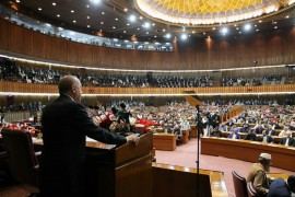 President of Turkey Recep Tayyip Erdogan attends a joint session of National Assembly and Senate in Islamabad, Pakistan on February 14, 2020.