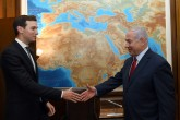 Israeli Prime Minister Benjamin Netanyahu greets U.S. President Donald Trump's senior advisor and son-in-law, Jared Kushner at the Prime Minister's Office in Jerusalem, July 31, 2019.